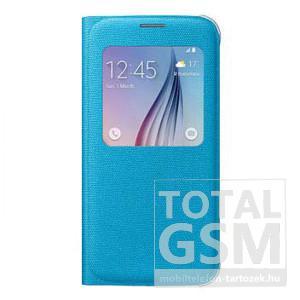 Samsung Galaxy S6 SM-G920 oldalra nyíló kék ablakos cover szövet flip tok