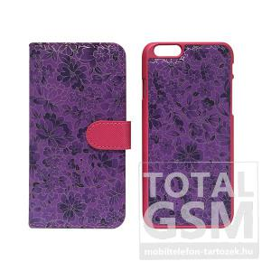Samsung Galaxy S6 SM-G920 oldalra nyíló lila cover flip tok