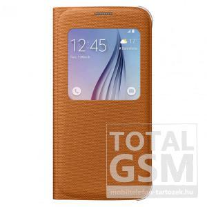 Samsung Galaxy S6 SM-G920 oldalra nyíló narancssárga ablakos cover szövet flip tok