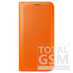 Samsung Galaxy S6 SM-G920 oldalra nyíló narancssárga book cover bőr flip tok
