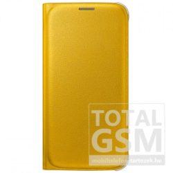 Samsung Galaxy S6 SM-G920 oldalra nyíló sárga book cover bőr flip tok