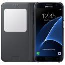 Samsung Galaxy S7 Edge SM-G935 oldalra nyíló fekete ablakos cover bőr flip tok
