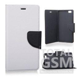 LG G4C Mini fehér-fekete csatos notesz TPU-bőr flip tok
