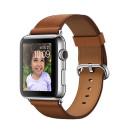Apple Watch Sport 42mm rozsdamentes acél tok barna bőrszíjjal okosóra
