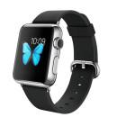 Apple Watch Sport 42mm rozsdamentes acél tok fekete bőrszíjjal okosóra