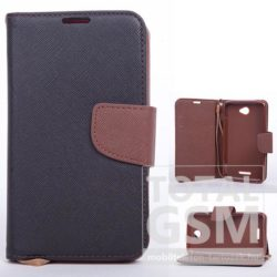 Huawei P9 fekete-barna csatos notesz TPU-bőr flip tok