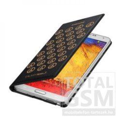Samsung Galaxy Note 3 SM-N9000 oldalra nyíló fekete mintás cover flip tok