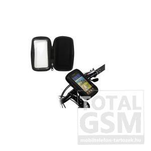 Univerzális telefon tartó kerékpár / bicikli (360°-ban forgatható, kormányra rögzíthető, cipzáras, por és vízálló tokkal) fekete