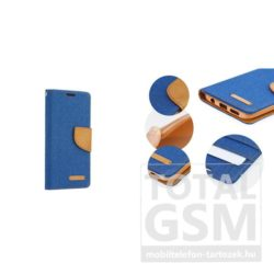 LG K4 kék-barna Canvas csatos flip tok szilikon belsővel
