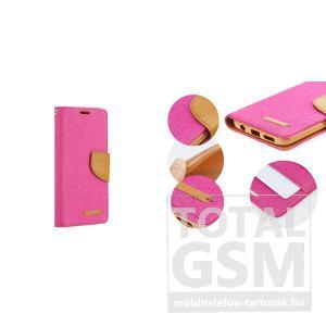 LG K4 rózsaszín-barna Canvas csatos flip tok szilikon belsővel