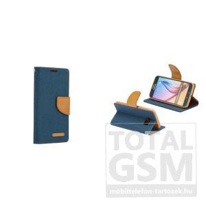 LG K4 sötétkék-barna Canvas csatos flip tok szilikon belsővel