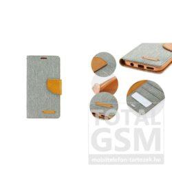 LG K4 szürke-barna Canvas csatos flip tok szilikon belsővel
