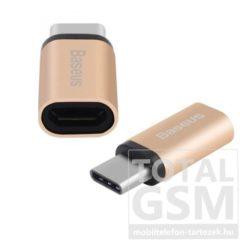 LG G5 H850 BASEUS adapter (MicroUSB- USB Type-C, töltéshez, adatátvitelhez) Arany