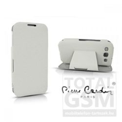 Samsung Galaxy S4 Mini GT-I9190 oldalra nyíló fehér cover flip tok Pierre Cardin