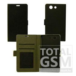 Huawei P8 Lite oldalra nyíló fekete flip tok