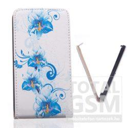 Samsung Galaxy Trend 3 SM-G3502 fehér-kék virág mintás flip tok