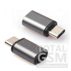 Adapter (microUSB- USB Type-C, töltéshez, adatátvitelhez) szürke