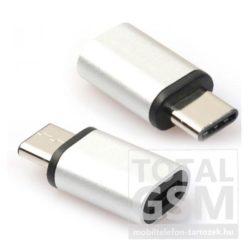 Adapter (microUSB- USB Type-C, töltéshez, adatátvitelhez) ezüst