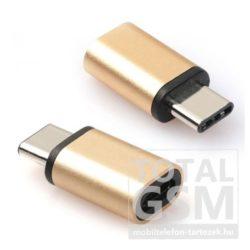 Adapter (microUSB- USB Type-C, töltéshez, adatátvitelhez) arany