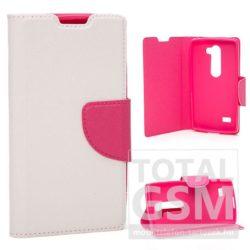 LG K8 K350N fehér-rózsaszín csatos notesz TPU-bőr flip tok