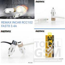 REMAX FAST8 RCC102 Lightning és Micro USB szivargyújtó töltő 1m arany