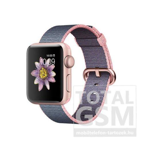 Apple Watch Series 2 38mm rozéarany színű alumíniumtok világos rózsaszín–éjkék szőtt műanyag szíjjal