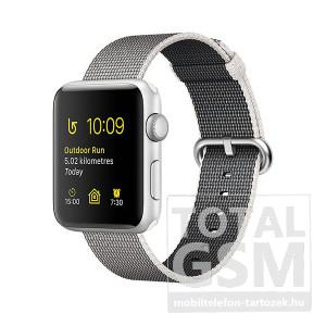 Apple Watch Series 2 42mm ezüstszínű alumíniumtok gyöngyszürke szőtt műanyag szíjjal