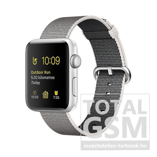 Apple Watch Series 2 38mm ezüstszínű alumíniumtok gyöngyszürke szőtt műanyag szíjjal
