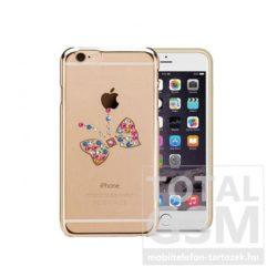 Astrum MC250 keretes pillangó mintás, színes Swarovski köves Apple iPhone 6 / 6S hátlapvédő arany