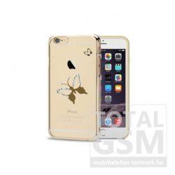 Astrum MC290 keretes pillangó mintás, Swarovski köves Apple iPhone 6 / 6S hátlapvédő arany