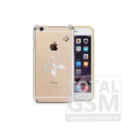 Astrum MC290 keretes pillangó mintás, Swarovski köves Apple iPhone 6 / 6S hátlapvédő ezüst
