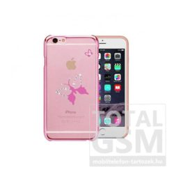 Astrum MC290 keretes pillangó mintás, Swarovski köves Apple iPhone 6 / 6S hátlapvédő pink