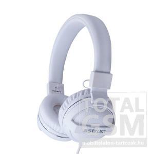 Astrum HS300 fehér 3,5MM univerzális fejhallgató, bőr fülpárnákkal, beépített mikrofonnal, extra mély hangzással A12030-Q
