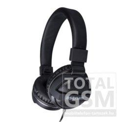 Astrum HS300 fekete 3,5MM univerzális fejhallgató, bőr fülpárnákkal, beépített mikrofonnal, extra mély hangzással A12030-B