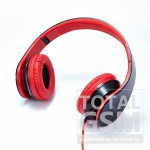Astrum RAGA BLAST bőr fejhallgató, mikrofonnal fekete - piros színben HS-333 HS310