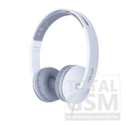 Astrum HS320 fehér 3,5MM univerzális fejhallgató, slim kábellel, beépített mikrofonnal, extra mély hangzással A12032-Q