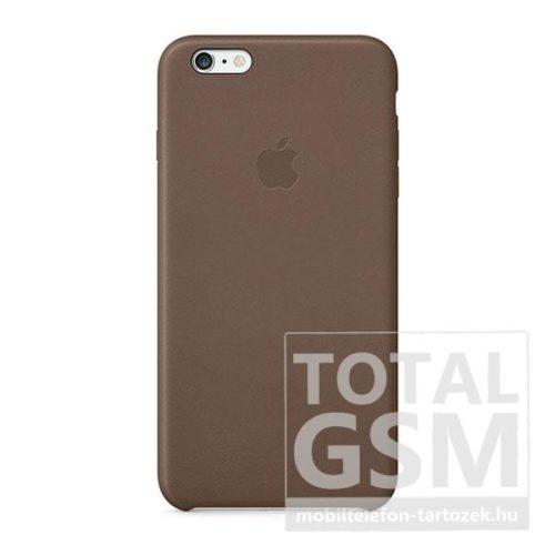 Apple iPhone 6 Plus / 6S Plus Gyári Barna Bőr Hátlapi Tok