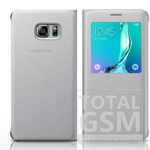 Samsung G920 Galaxy S6 Ezüst Gyári Szövet Ablakos Oldalra Nyíló Flip Tok