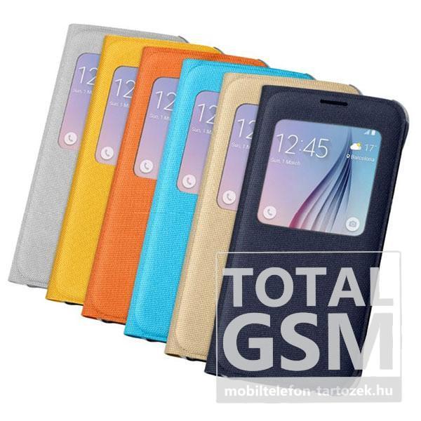Samsung G920 Galaxy S6 Kék Gyári Szövet Ablakos Oldalra Nyíló Flip Tok