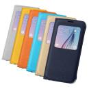 Samsung G920 Galaxy S6 Sárga Gyári Szövet Ablakos Oldalra Nyíló Flip Tok