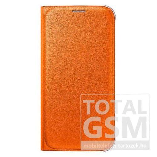 Samsung G920 Galaxy S6 Narancs Gyári Bőr Oldalra Nyíló Flip Wallet Tok
