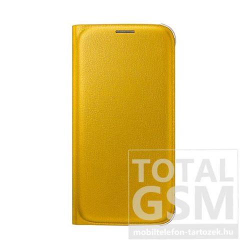 Samsung G920 Galaxy S6 Sárga Gyári Bőr Oldalra Nyíló Flip Wallet Tok