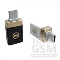 WK OTG USB - TYPE-C Fekete Átalakító