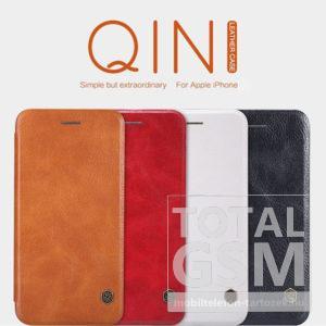 Apple iPhone 8 Nillkin Qin bőr notesz flip tok fehér / white