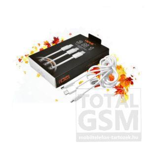 Type-c, micro USB, lighting csatlakozós adatkábel 3 in 1 fehér / white