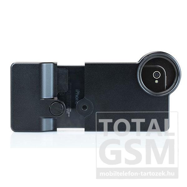 Apple iPhone 4 / 4S fekete fém tok fotó lencse rögzítéshez