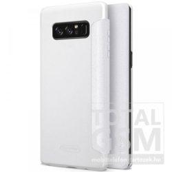 Samsung N950F Galaxy Note 8 Nillkin Sparkle Notesz Bőr Flip Tok Fehér / White