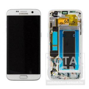 Samsung G935 Galaxy S7 Edge LCD Kijelző+Érintőplexi+Keret Fehér Gyári