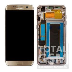 Samsung G935 Galaxy S7 Edge LCD Kijelző+Érintőplexi+Keret Arany Gyári