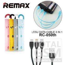 Remax Lesu RC-050th 3 in1 Lightning / Type-C / Micro USB Adatkábel Fekete